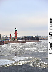 Rostral column on the spit of Vasilievsky island.