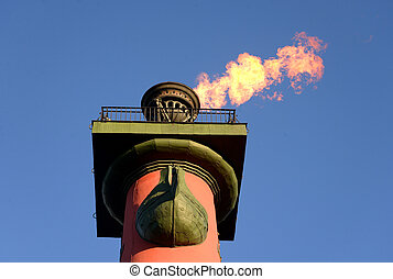 Rostral column with a fiery torch.