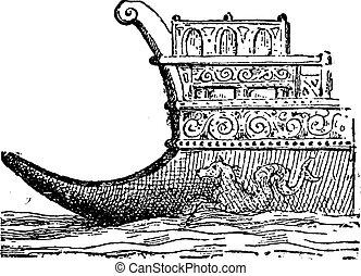 Rostrum or Naval Ram, vintage engraving.