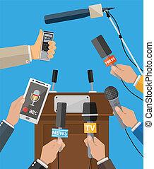 Press conference concept, news, media, journalism. - Rostrum...