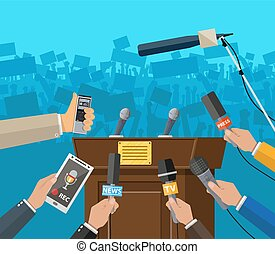 Press conference concept, news, media, journalism.