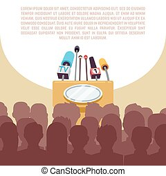 Rostrum, tribune with microphones in spotlight on stage vector illustration