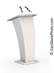 Rostrum with microphone on the white background. 3d...