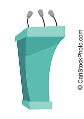 Rostrum with microphones vector illustration.