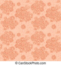 rosy background with flowers - vector seamless pattern