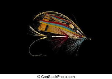Rosy Dawn Salmon Fly - Rosy Dawn salmon fly shot against a...