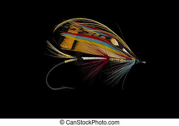 Rosy Dawn Salmon Fly - Rosy Dawn salmon fly shot against a...