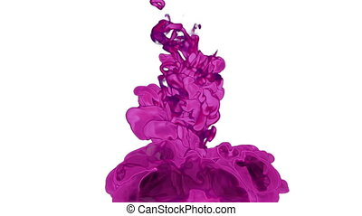 rosy Ink with alpha mask in water move in slow motion. VFX Cloud of Ink or smoke for transitions, background, overlay and effects. For alpha channel use alpha matte. 3d Ink background Ver 1