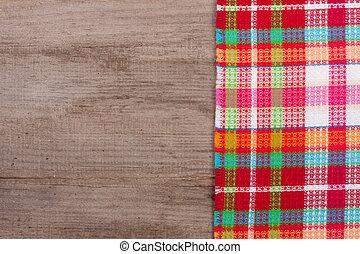 rot checkered tablecloth, auf, ein, altes , holztisch, mit, kopieren platz, für, dein, text., draufsicht