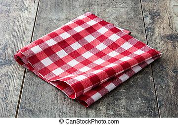 rot checkered tablecloth, auf, holztisch
