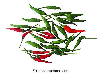 rot grün, heiß chili, pfeffer