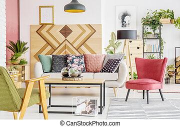 Lebensunterhalt, grün, zimmer, rotes . Wohnzimmer, elegant, sofa ...