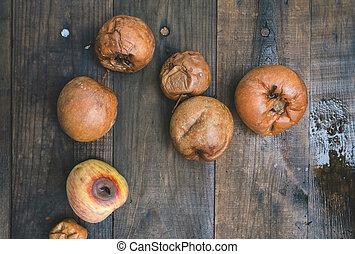 rot, hout, appeltjes