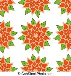 rot-orange, muster, blätter, seamless, grüner hintergrund, weisse blumen
