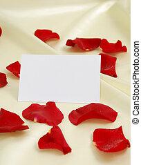 rot stieg, blütenblätter , auf, goldsatin