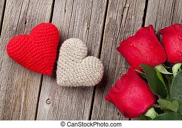 rot stieg, und, valentinestag, herzen, auf, holz