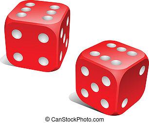 rot weiß, spielwürfel, mit, verdoppeln sechs, roll.