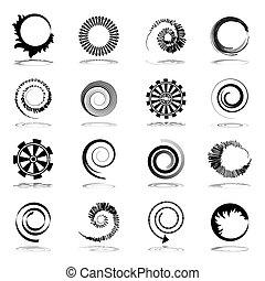 rotação, elementos, desenho, espiral