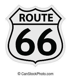 rota 66, ilustração, sinal