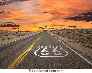 rota 66, pavimento, sinal, amanhecer, deserto mojave