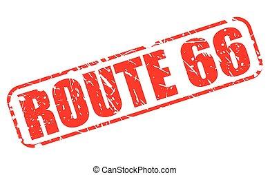 rota 66, vermelho, selo, texto