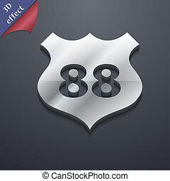 rota, 88, rodovia, ícone, símbolo., 3d, style., trendy, modernos, desenho, com, espaço, para, seu, texto, ., rastrized