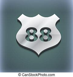 rota, 88, rodovia, ícone, símbolo., 3d, style., trendy, modernos, desenho, com, espaço, para, seu, texto, ., raster