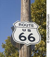 rota, antigas, 66, sinal