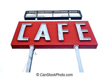 rota, sinal, histórico, 66, ao longo, café, texas