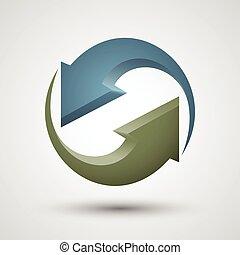 rotación, flechas, dos, icon.