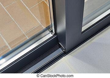 rotaia, porta, dettaglio, vetro scorrevole