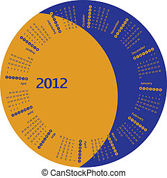 rotante, calendario, 2012