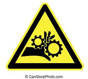 rotante, parti, avvertimento, giallo