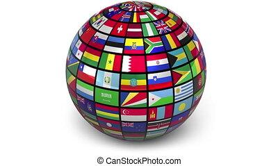rotante, sfera, con, mondo, bandiere