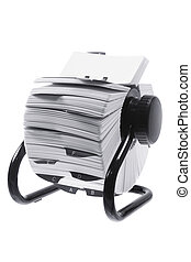 Rotary Card Index on White Background