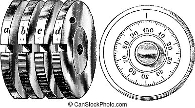 Rotary combination lock Safe locking mechanism, vintage engraving. Old engraved illustration of Rotary combination lock Safe locking mechanism with Internal mechanism (fig 10) and Outside of a Rotary combination lock (fig 11), isolated on a white background.