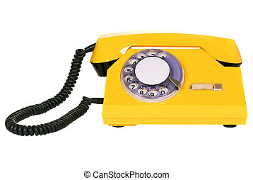 Yellow rotary dial telephone isolated over white background