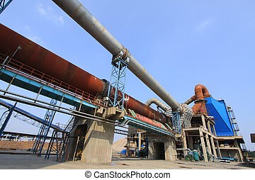 rotary kiln and electric dust removal equipment in a cement...