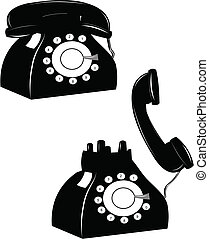 rotary phone - old rotary phone on the hook and off over...