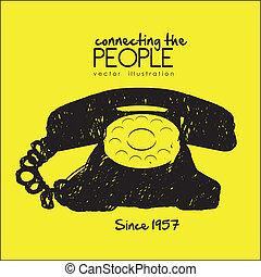 Rotary phone - illustration of a scrawl rotary phone, black...