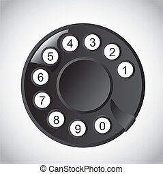 Rotary Phone Dial with numbers over white background. vector