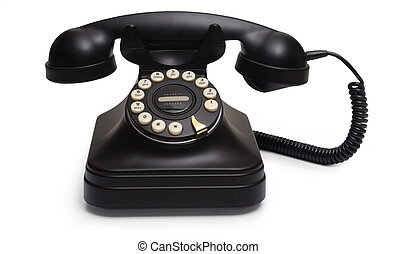 rotary phone on white - antique black desk telephone