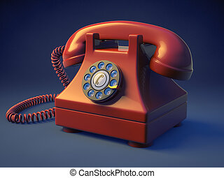 Rotary Phone - Photo of a retro rotary phone on a blue...