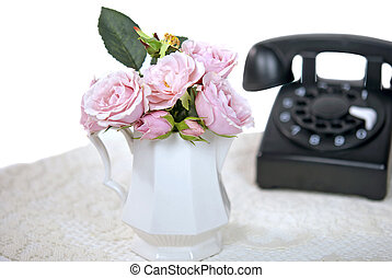 rotary telephone with roses