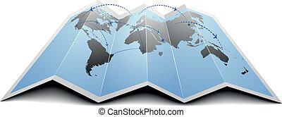 rotas, mundo, vôo, mapa