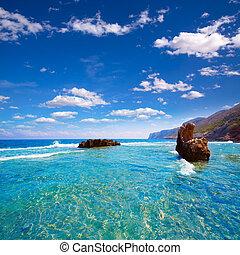 rotas, sziklás, denia, alicante, tengerpart, spanyolország,...