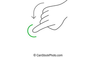 Rotate and hold mobile screen gesture line art vector animation. Hand pressing mobile phone touchscreen button contour icon video. One finger swiping in down direction motion graphics
