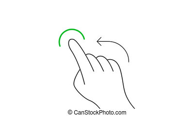 Rotate and hold mobile screen gesture line art vector animation. Hand pressing mobile phone touchscreen button contour icon video. One finger flicking left direction motion graphics