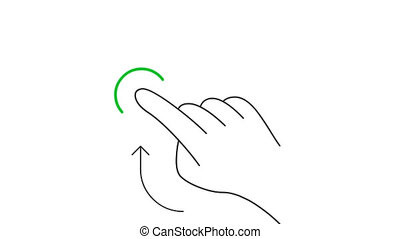 Rotate and hold mobile screen gesture line art vector animation. Hand pushing mobile phone touchscreen button contour icon video. One finger swiping up interface motion graphics