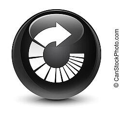 Rotate arrow icon glassy black round button